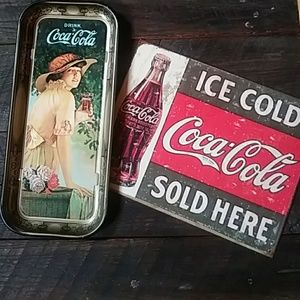 Coca-Cola tray and sign